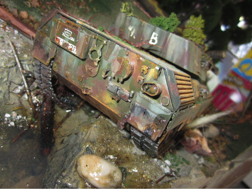 Detail of customer model diorama featuring an abandoned German Leopard tank