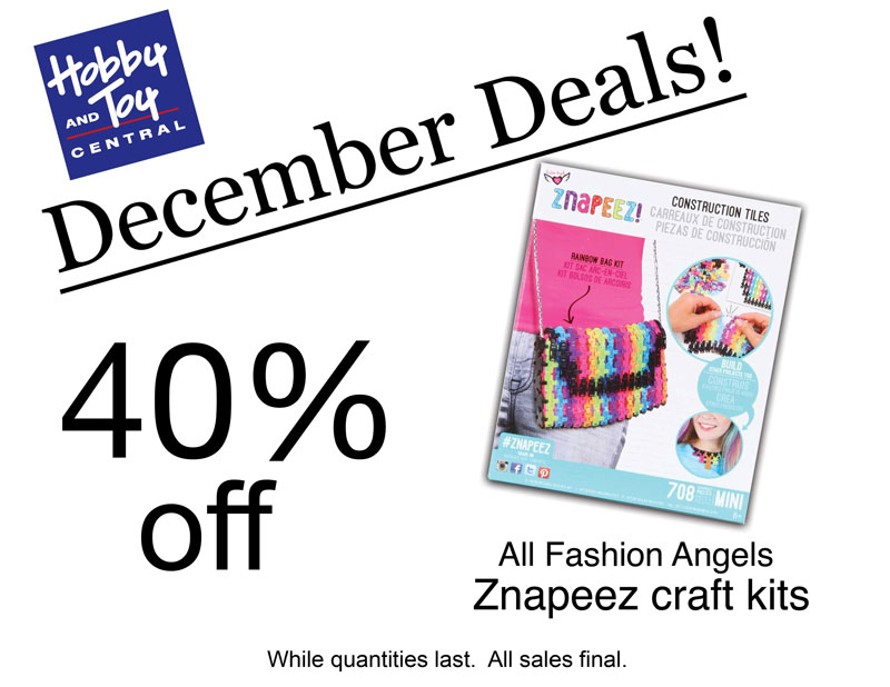 December Deals! 40% off All Fashion Angels Znapeez craft kits. While quantities last. All sales final.