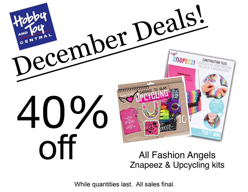 December Deals! 40% off All Fashion Angels Znapeez and Upcycling kits. While quantities last. All sales final.