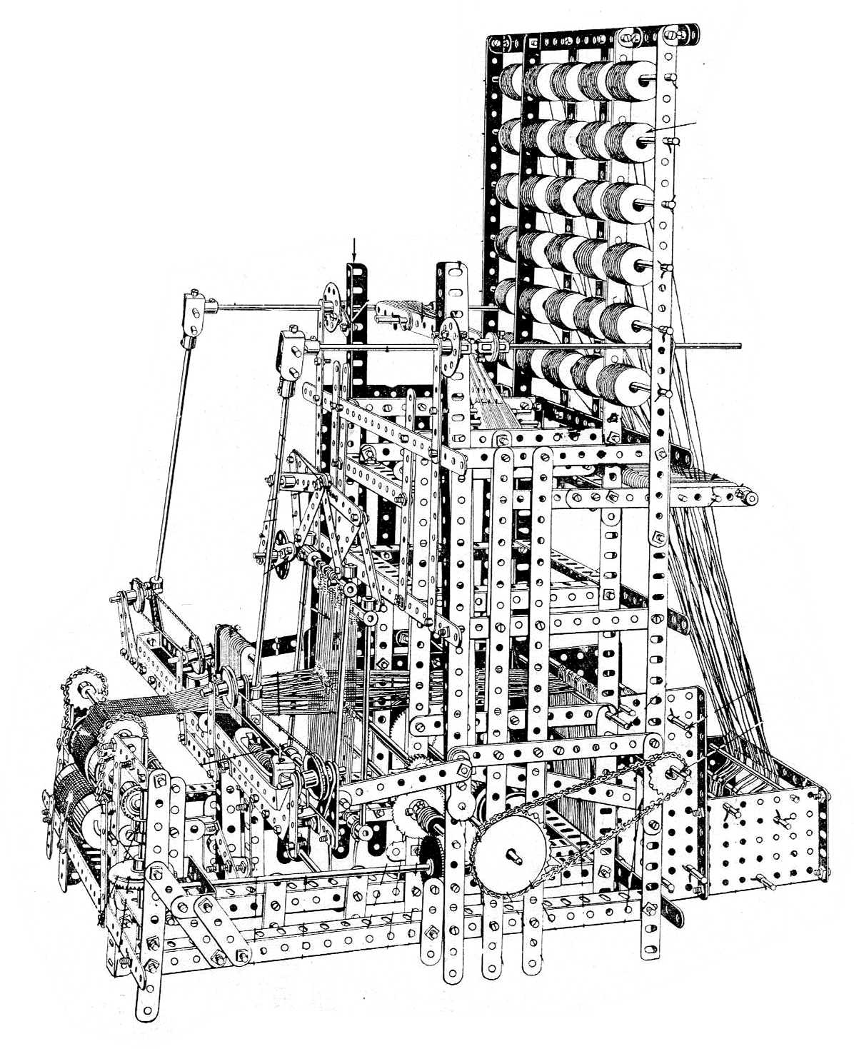 "The Meccano Loom, which ""automatically weaves ties and belts in all colours."""