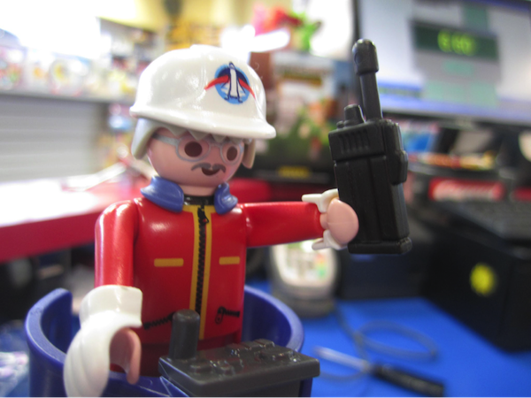 In-store photo of Playmobil Space set figure with white helmet