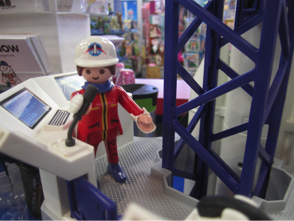 Detail of Playmobil Space set with figure in ground control