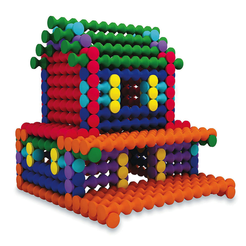 Model of house made with Playstix building toy