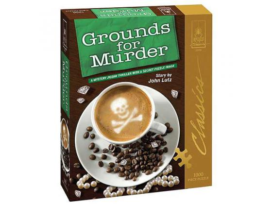 """Bepuzzled Mystery Jigsaw Puzzle """"Grounds For Murder"""" 1000Pc"""