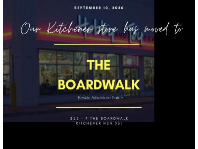 The Kitchener store has moved to the Boardwalk poster