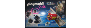 Box image of Playmobil Space set with pink feature highlighted