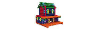 Model of house built with Playstix building toy